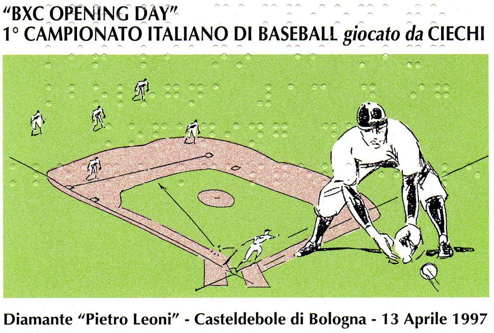 cartolina bxc opening day primo campionato di baseball giocato da ciechi