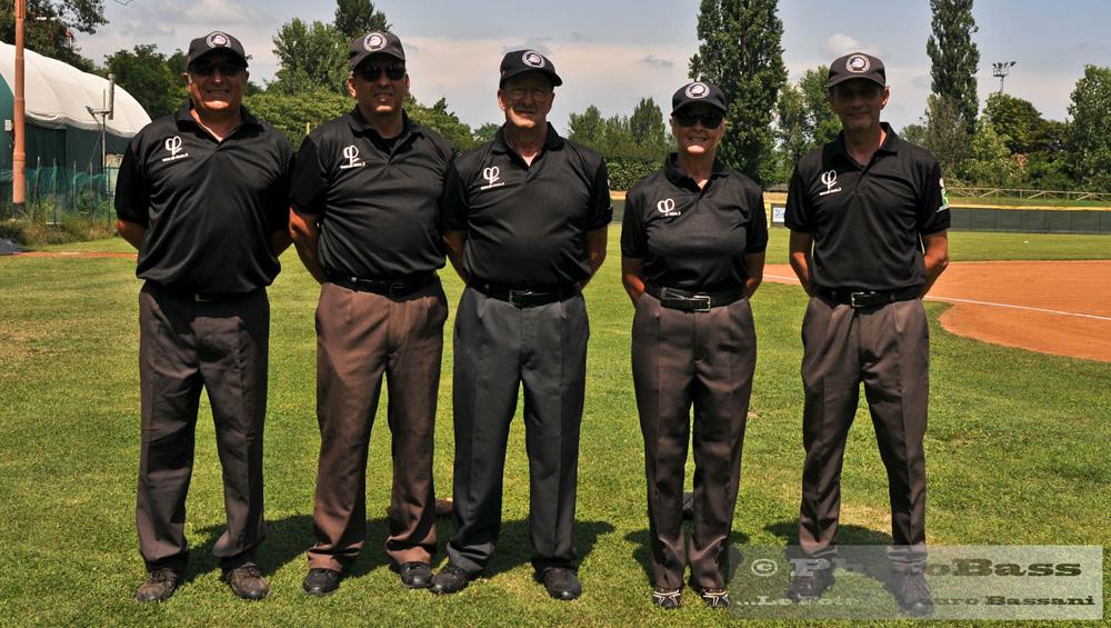 gli arbitri della finale, da sinistra Amurri, Pasquali, Luciani, Casiraghi e Frabetti.