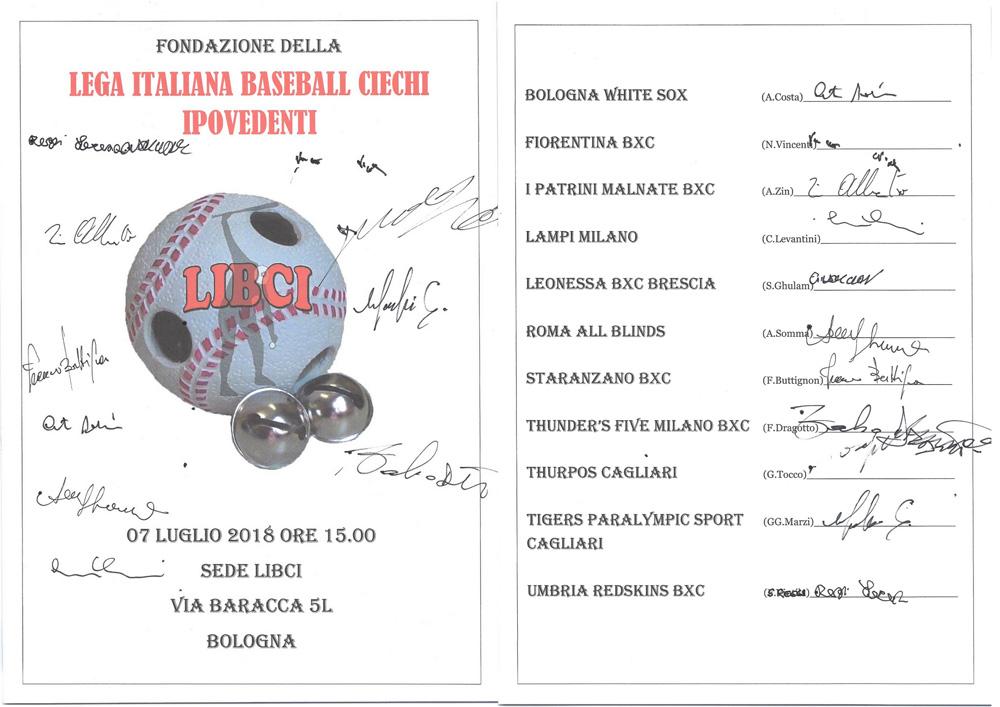 Documento ufficiale della fondazione della LIBCI con la firma dei rappresentanti delle 11 squadre